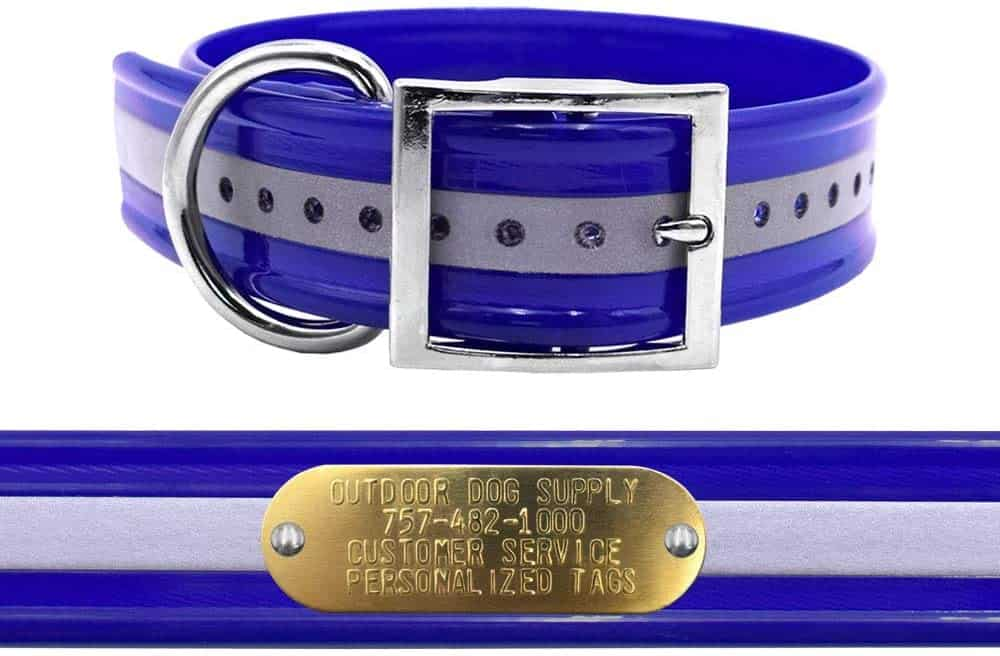1. Heavy Duty Hunting Dog Collar   Reflective Dog Collar With Name Plate